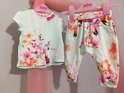 Baby Girls Designer Ted Baker Floral Hummingbird Print Outfit Top & Bottoms 6-9m