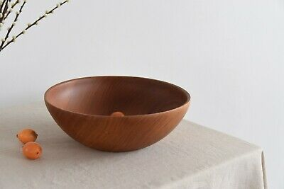 Vintage Large Rustic Mid-Century Hand Turned Wooden Fruit Bowl by Peter Austin