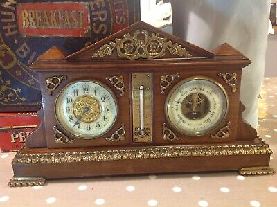 Antique French Compendium Clock / Barometer With Thermometer Oak & Brass Case