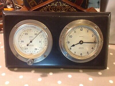 SHIPS BULKHEAD CLOCK & BAROMETER BY THOMAS ARMSTRONG MANCHESTER  297 mm x 162 mm
