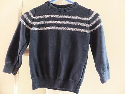 Boys long sleeved jumper, Aged 2-3 years, F&F, blue striped, cotton