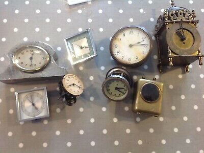 Lot Of 8 Old Clocks Steampunk For Spares or repair Smiths Lantern brass & pewter