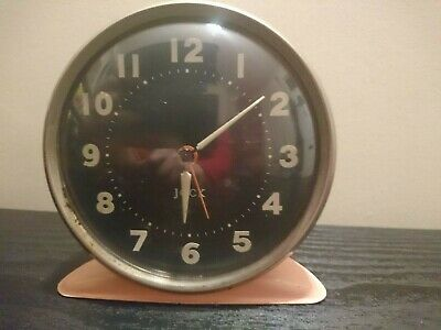 Vintage Jock Alarm Clock Pink Working Black Dial Luminous Hands & Nos Scotland
