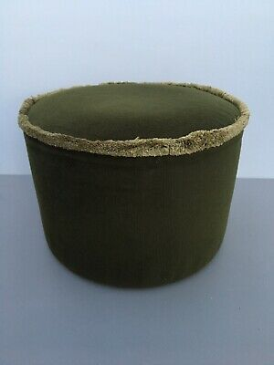 Vintage 1960's 1970's Round Green Velour Fringed Footstool Pouffe