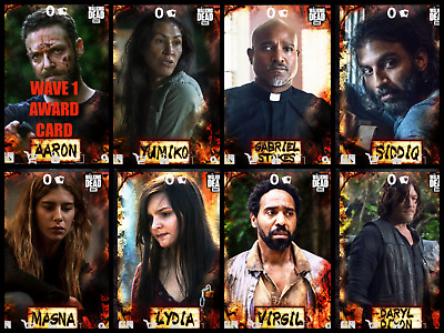 SEASON 10 CHARACTERS WAVE 1 BURNT 7 CARD SET Topps WALKING DEAD DIGITAL TRADER