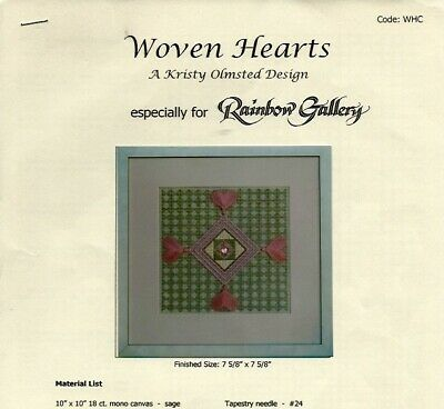 Woven Hearts Counted Needlepoint Chart & Instructions - Kristy Olmsted