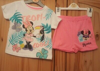 Girls Minnie mouse top shorts 9-12 months primark