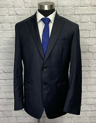 Hart Schaffner Marx Mens Navy Blue & Purple Pinstripe Wool Suit Jacket 40L