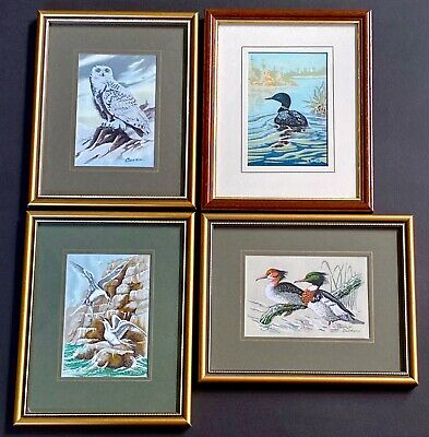 4 x Vintage Framed Cashs Woven Pictures, Merngaster, Terns, Loon, Snowy Owl