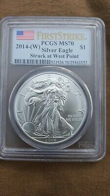 2014-W First Strike American Silver Eagle ASE $1 PCGS MS 70 Struck at West Point