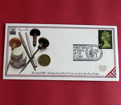 1983 ROYAL ARMS UNCIRCULATED £1 - royal mint coin cover
