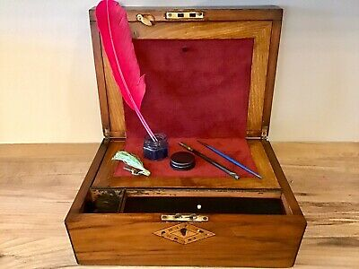 A Victorian Ladies Traveling Figured Walnut Writing Slope Box With  Contents.