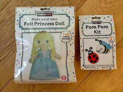 2 Hobbycraft Felt Princess Doll Pom Pom Craft Age 8+ Children's Crafts