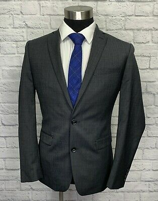 $425 Bar III Mens Charcoal Gray Wool Slim Fit Suit Jacket Sport Coat 38R