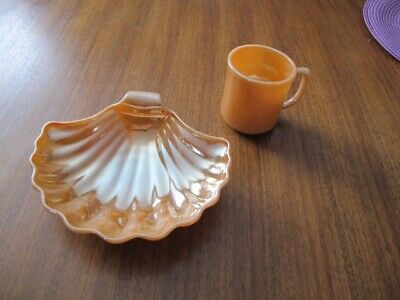Vintage Fire King Peach Lustre Sea Shell CandyDish and Cup Mug H109
