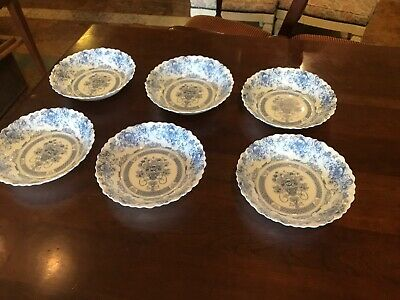 Arcopal France Blue Honorine Scalloped Edge Cereal Salad Soup Bowls Set Of 6