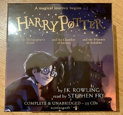 Harry Potter Audio Books 1-3 Stephen Fry 25Cds new and Sealed JK Rowling