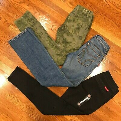 DICKIES Womens Girls Black Floral Sz 7 Work Casual Pants Used and New Lot of 3