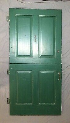 Vtg 38x77 Solid Wood Dutch Door 4 Panel 2 Over Two Old Entryway 105-20E