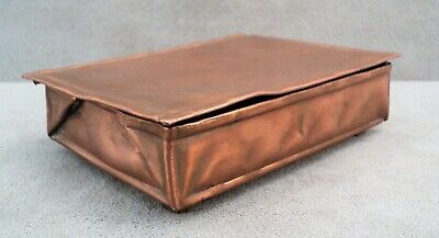 Antique ARTS & CRAFTS Folded & Hammered COPPER BOX Boston School MA Taylorcraft