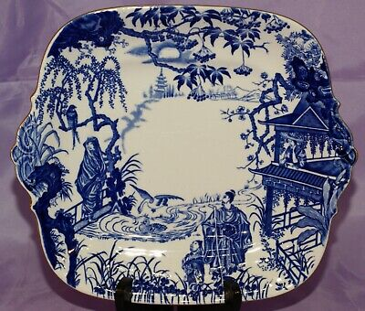 1927 Royal Crown Derby BLUE MIKADO Square Vegetable Bowl Cake Plate Platter