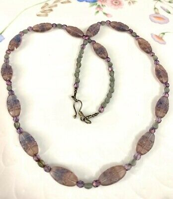 Antique Czech Glass Molded Pressed Bead Necklace  ~ Sterling Silver Vintage