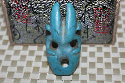 Chinese Yuhong Mountain Culture Turquoise Carving Amulet