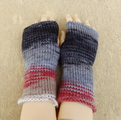 knit acrylic fingerless gloves unisex half mittens winter spring hand warmers
