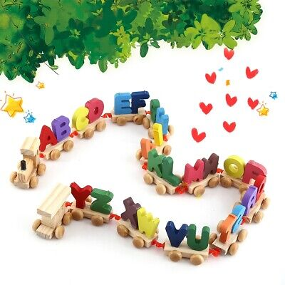 Fashionable Colorful Wooden Letters Train Educational Alphabetical Assemble Toy❤