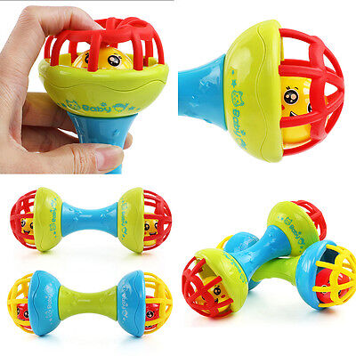 Baby Safe Silicone Rattles Bells Shaking Dumbbell Toy Bell BalST8