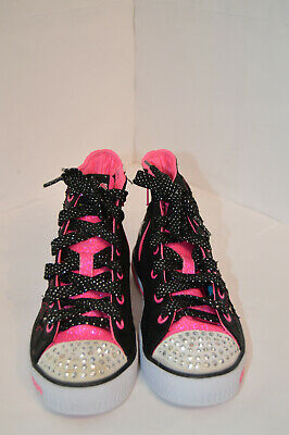 Skechers Twinkle Toes Kids Girls Sparkle Black Textile Trainers Size UK 12 EU 30