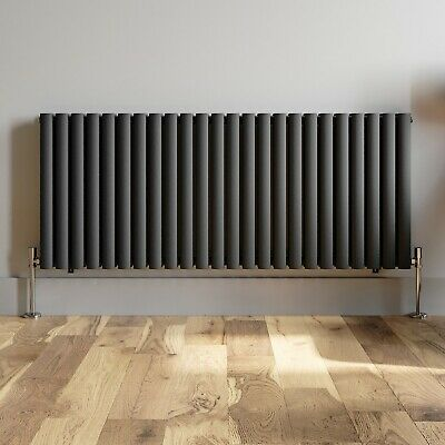 Anthracite Designer Radiator Horizontal Oval Column Double Panel Rad 600x1440mm