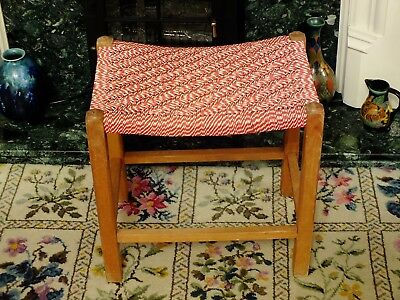 Wide Vintage Wooden Stool With Woven Seat Very Sturdy