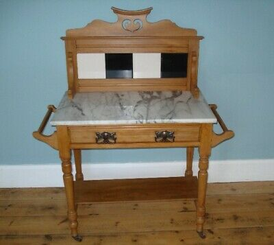 Antique Victorian Marble Top Washstand, in Art Nouveau Style