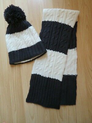Boys Navy Blue And White Cable Hat And Scarf Size 6 - 8 Years