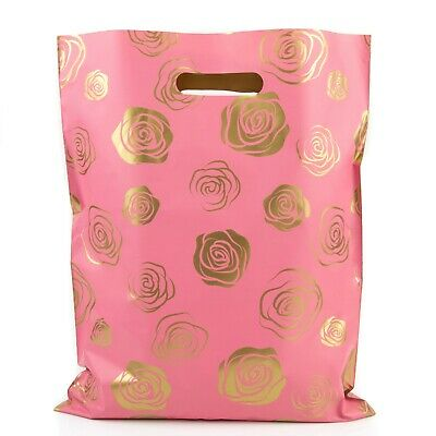 Shopping Bags Gold Roses - 12x15 - Pack of 100