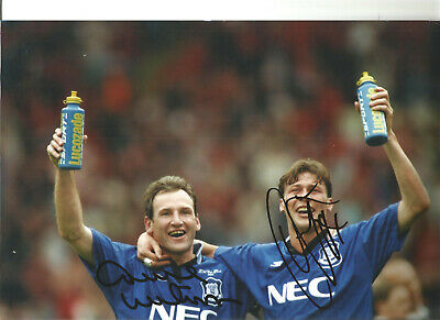 Duncan Ferguson Dave Watson Everton hand signed authentic football photo SS225