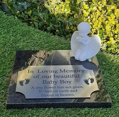 Personalised Solid Granite Memorial Grave Marker Plaque Stone Baby Boy Girl