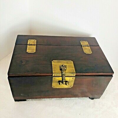 Antique Wooden Storage Box Brass Hinges Closure Tongue Groove Chinese Writings