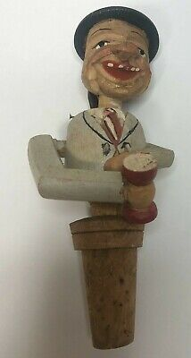 Antique Hand Carved Wooden Drunk Man Moving Whiskey Alcohol Bottle Topper