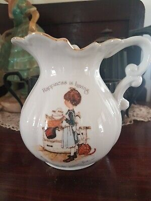 Vintage Holly Hobbie Jug Happiness Is Having Someone to Care For Collectable EUC