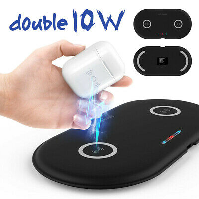 NEW Qi Dual Wireless Charger Charging Mat For i Phone 11 ProMax Samsung Note 10+