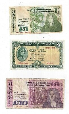 Lot of 5 Bank of Ireland Notes (2) £1,(2) £10, & (1) £20 Notes - (05619)