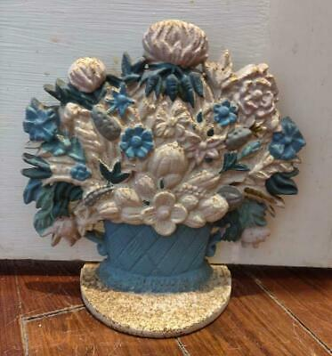 "Antique 7 1/2"" Cast Iron 5 Pound Door Stop Painted Blue Vase of Flowers NICE!"