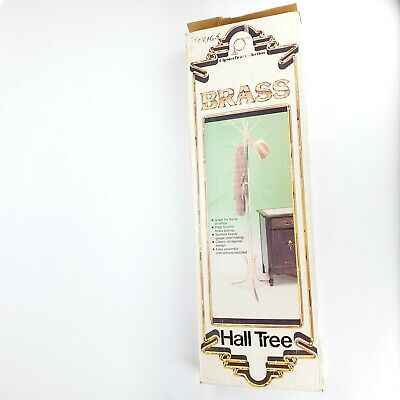 VTG 1976 Brass Plated Coat & Hat Hall Tree Chesterfield Collection SEALED NIB