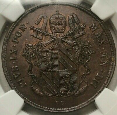 1848 R III Italy Papal States 2 Baiocchi - Pius IX - NGC MS62 BN