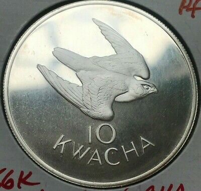 1979 Zambia 10 Kwacha - Large Silver Proof - 3,256 Minted