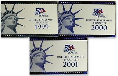1999-S, 2000-S, and 2001-S Set of three Clad Proof Sets w/ OGP and COAs