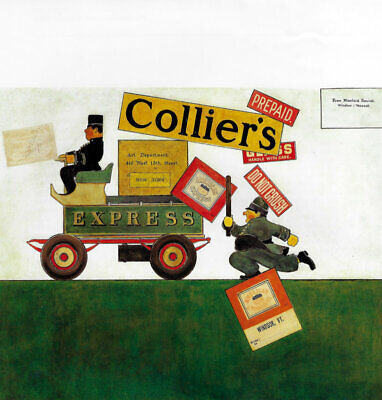 Maxfield Parrish Book Printamusing Cover For Colliers Magazine Cop Chases Wagon