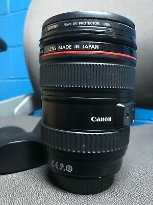 Canon EF 24-105mm F/4 L Is USM Zoom with Tiffen 77 uv filter/ front/back caps!